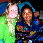 Caitlyn and Kamala, a handicapped lady in Nepal