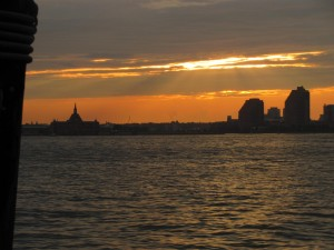 Sunset over New York Harbor